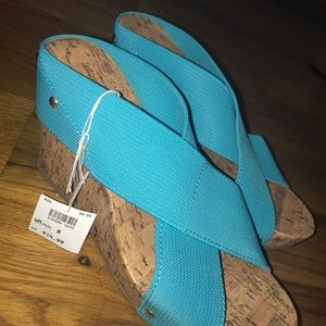 Shoes - blue wedges